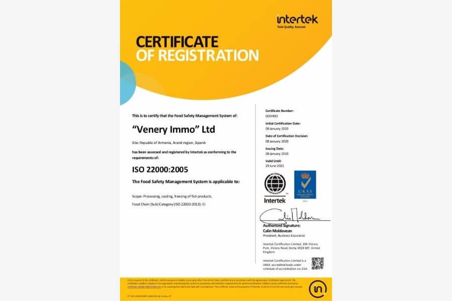 Venery Immo LLC Certificate